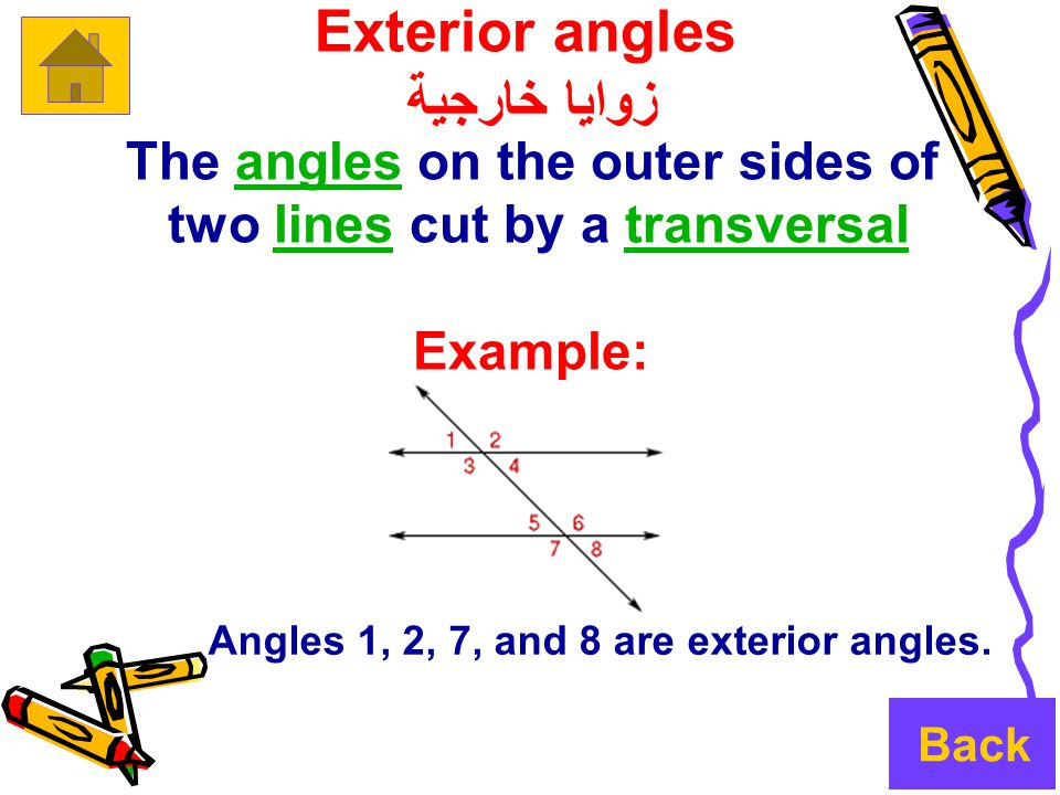 Exterior angles زوايا خارجية The angles on the outer sides ofangles two lines cut by a transversallinestransversal Example: Angles 1, 2, 7, and 8 are exterior angles.
