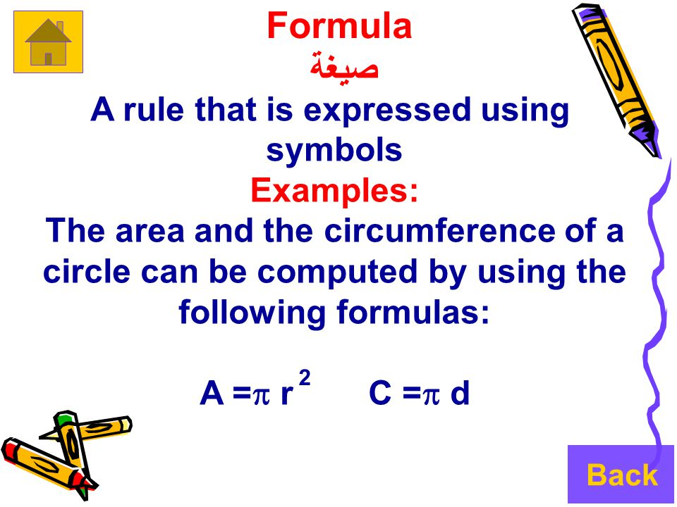 Formula صيغة A rule that is expressed using symbols Examples: The area and the circumference of a circle can be computed by using the following formulas: A =  r C =  d 2 Back