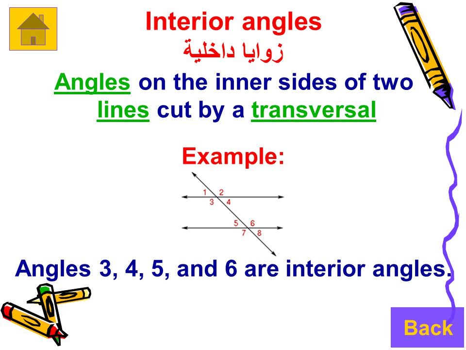 Interior angles زوايا داخلية AnglesAngles on the inner sides of two lines cut by a transversallinestransversal Example: Angles 3, 4, 5, and 6 are interior angles.