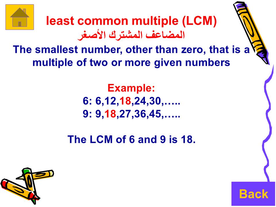 least common multiple (LCM) المضاعف المشترك الأصغر The smallest number, other than zero, that is a multiple of two or more given numbers Example: 6: 6,12,18,24,30,…..