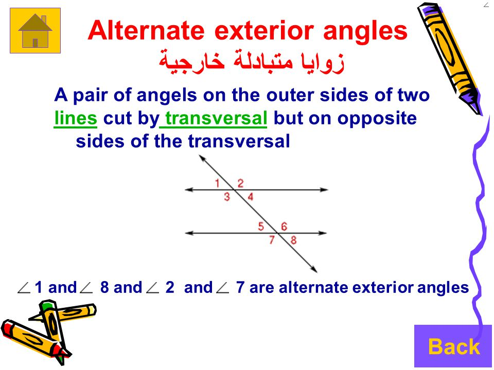 Alternate exterior angles زوايا متبادلة خارجية A pair of angels on the outer sides of two lineslines cut by transversal but on opposite transversal sides of the transversal 1 and 8 and 2 and 7 are alternate exterior angles Back