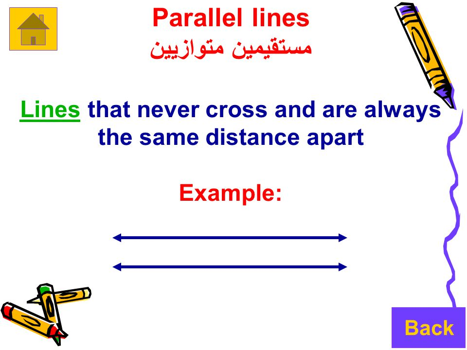 Parallel lines مستقيمين متوازيين LinesLines that never cross and are always the same distance apart Example: Back