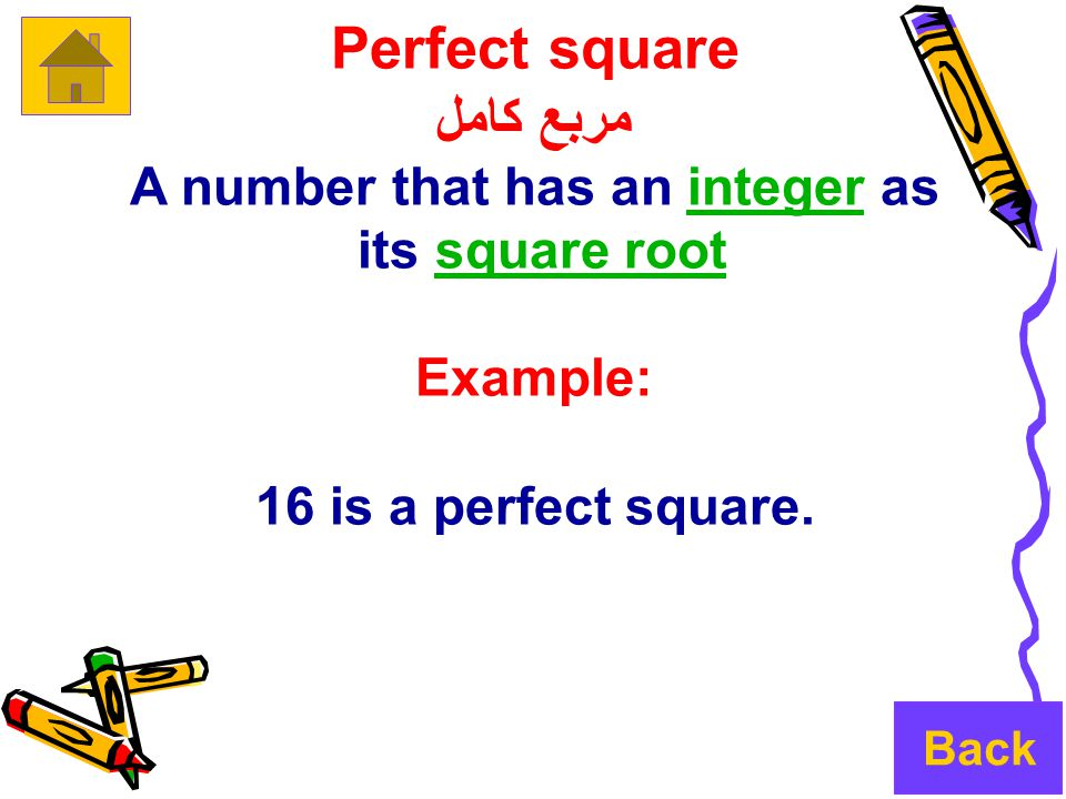 Perfect square مربع كامل A number that has an integer asinteger its square rootsquare root Example: 16 is a perfect square.