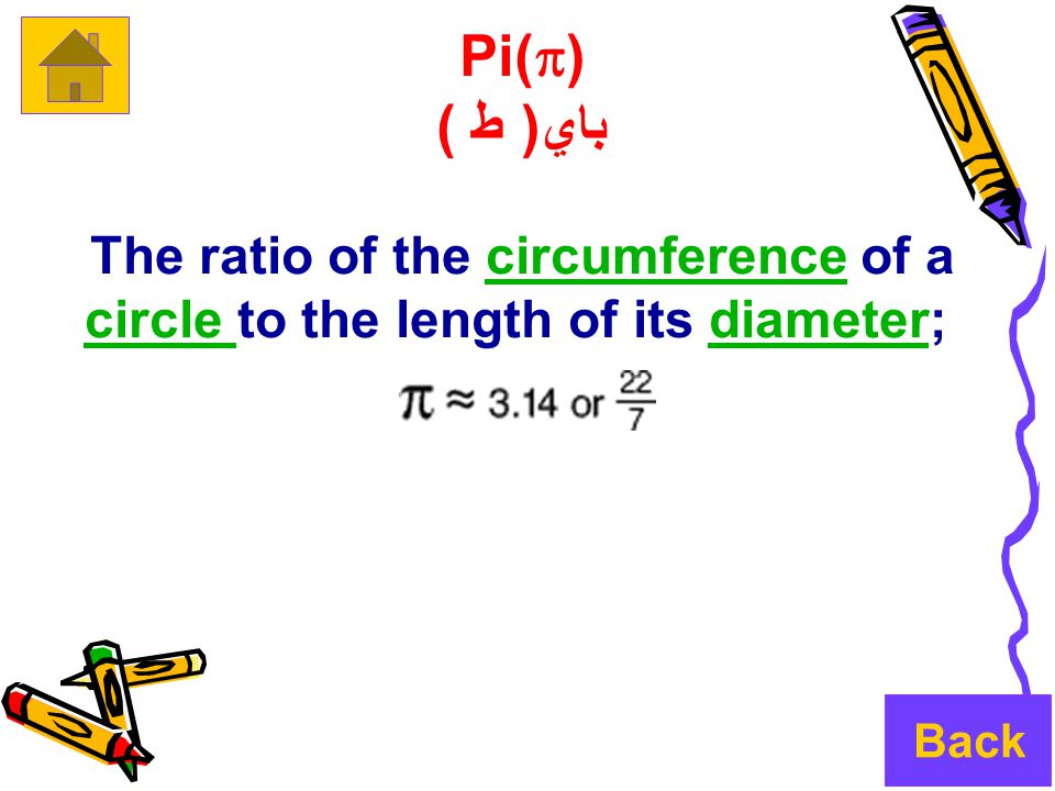 Pi(  ) باي( ط ) The ratio of the circumference of a circle to the length of its diameter;circumference circle diameter Back