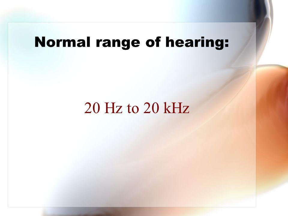 Normal range of hearing: 20 Hz to 20 kHz