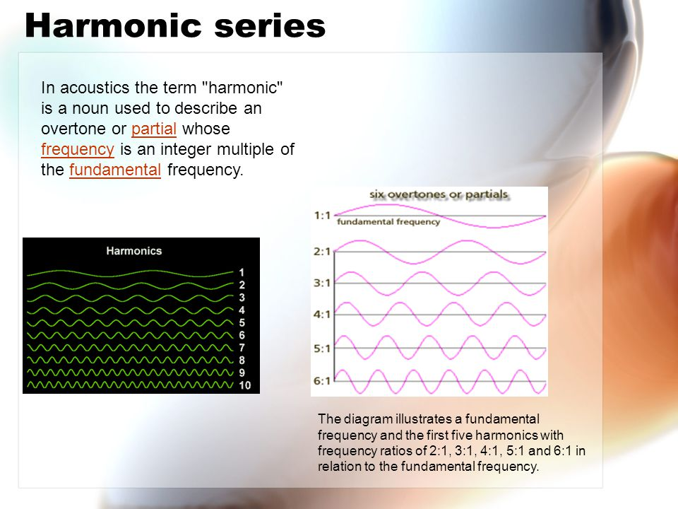 Harmonic series In acoustics the term harmonic is a noun used to describe an overtone or partial whose frequency is an integer multiple of the fundamental frequency.partial frequencyfundamental The diagram illustrates a fundamental frequency and the first five harmonics with frequency ratios of 2:1, 3:1, 4:1, 5:1 and 6:1 in relation to the fundamental frequency.