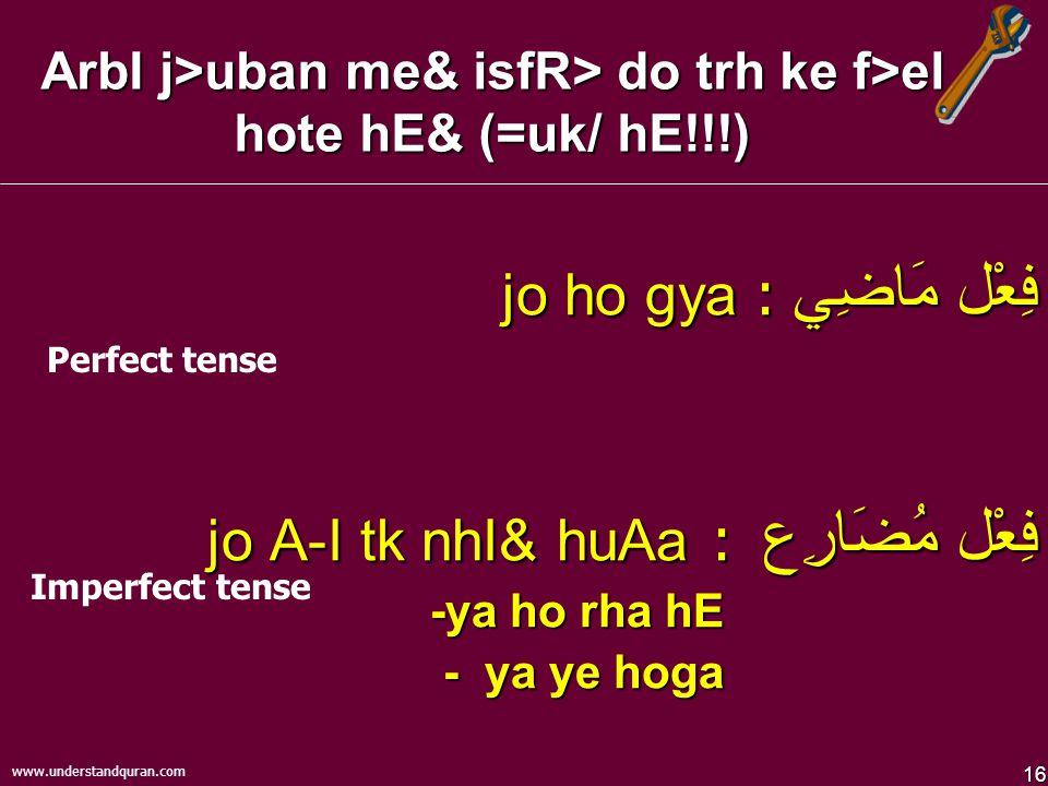 16 www.understandquran.com ArbI j>uban me& isfR> do trh ke f>el hote hE& (=uk/ hE!!!) فِعْل مَاضِي jo ho gya : فِعْل مُضَارِع jo A-I tk nhI& huAa : -ya ho rha hE - ya ye hoga Perfect tense Imperfect tense