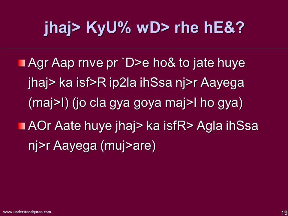19 www.understandquran.com jhaj> KyU% wD> rhe hE&.