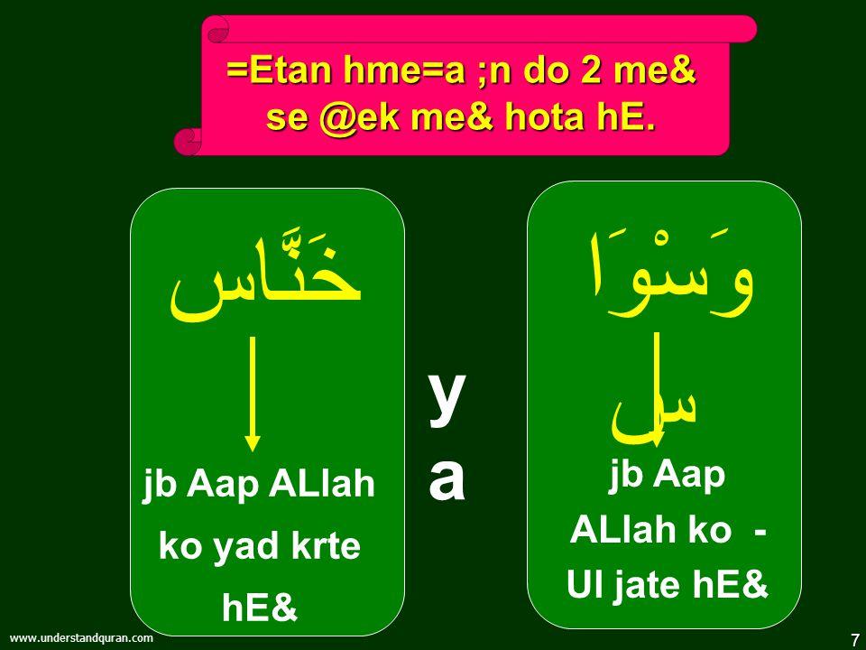 7 www.understandquran.com وَسْوَا س jb Aap ALlah ko - Ul jate hE& =Etan hme=a ;n do 2 me& se @ek me& hota hE.