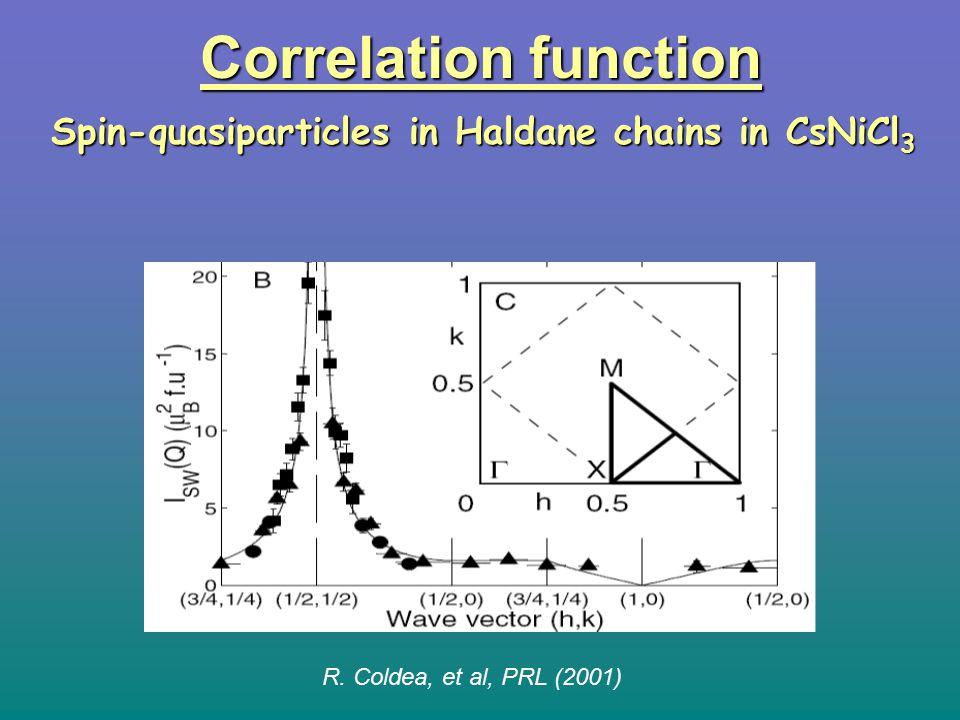 R. Coldea, et al, PRL (2001) Correlation function Spin-quasiparticles in Haldane chains in CsNiCl 3