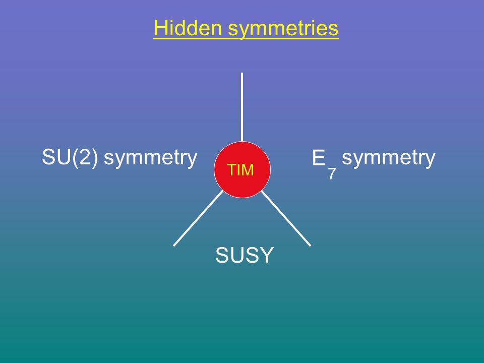 Hidden symmetries SUSY E 7 symmetrySU(2) symmetry TIM