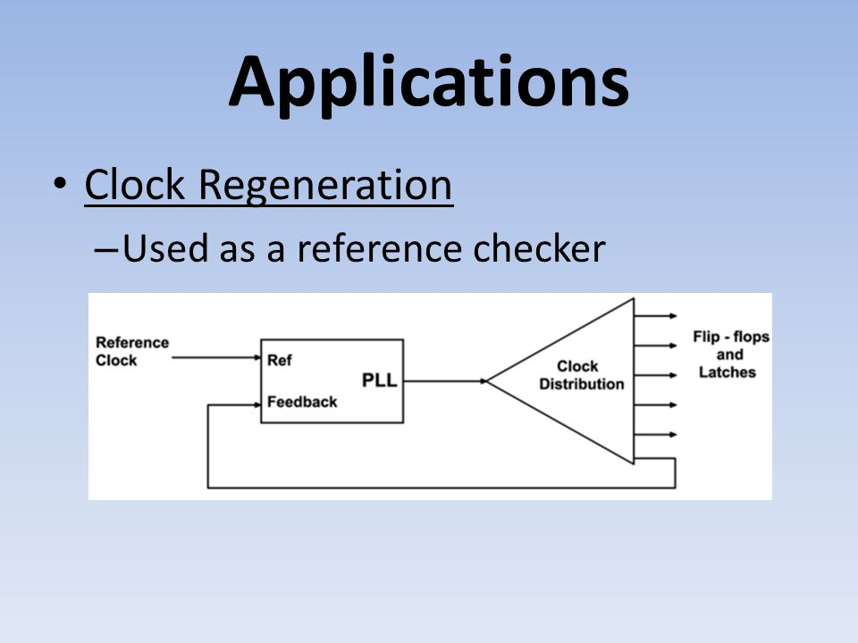 Applications Clock Regeneration – Used as a reference checker