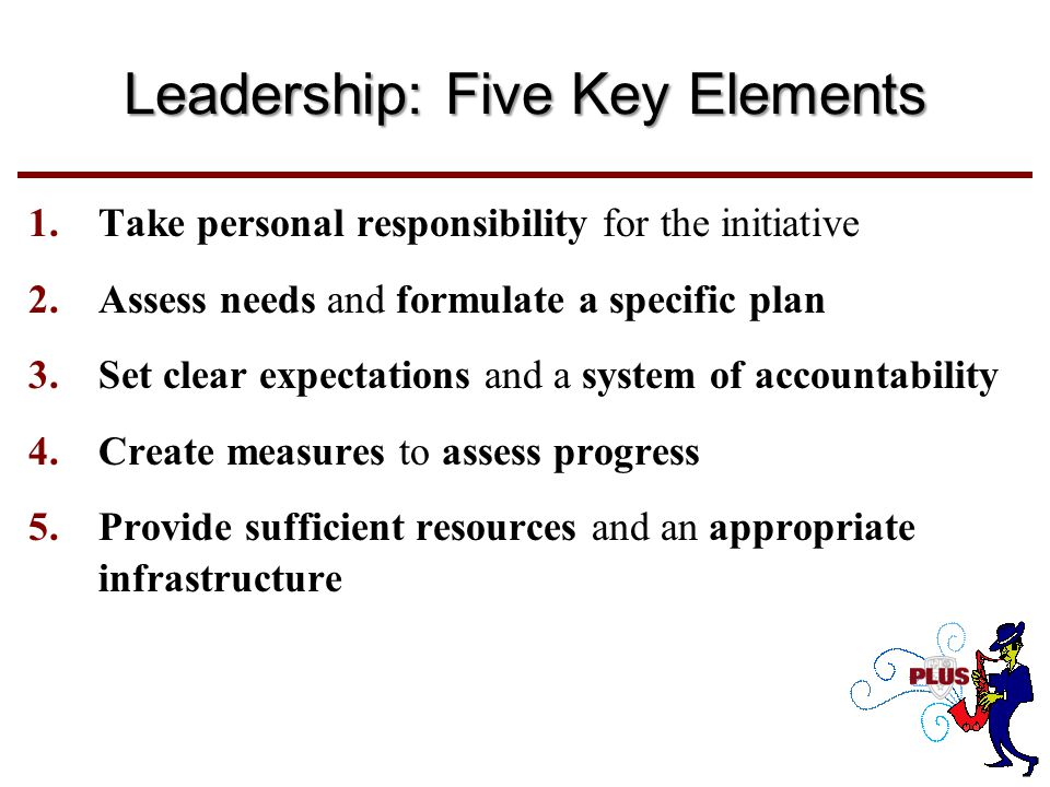 Leadership: Five Key Elements 1.Take personal responsibility for the initiative 2.Assess needs and formulate a specific plan 3.Set clear expectations and a system of accountability 4.Create measures to assess progress 5.Provide sufficient resources and an appropriate infrastructure