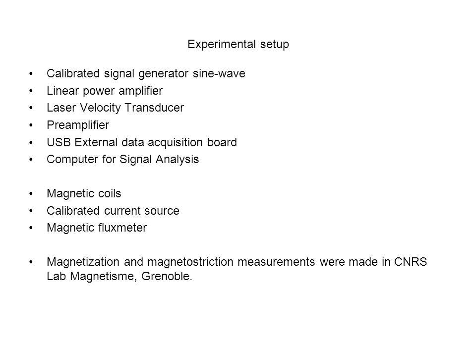 Experimental setup Calibrated signal generator sine-wave Linear power amplifier Laser Velocity Transducer Preamplifier USB External data acquisition b