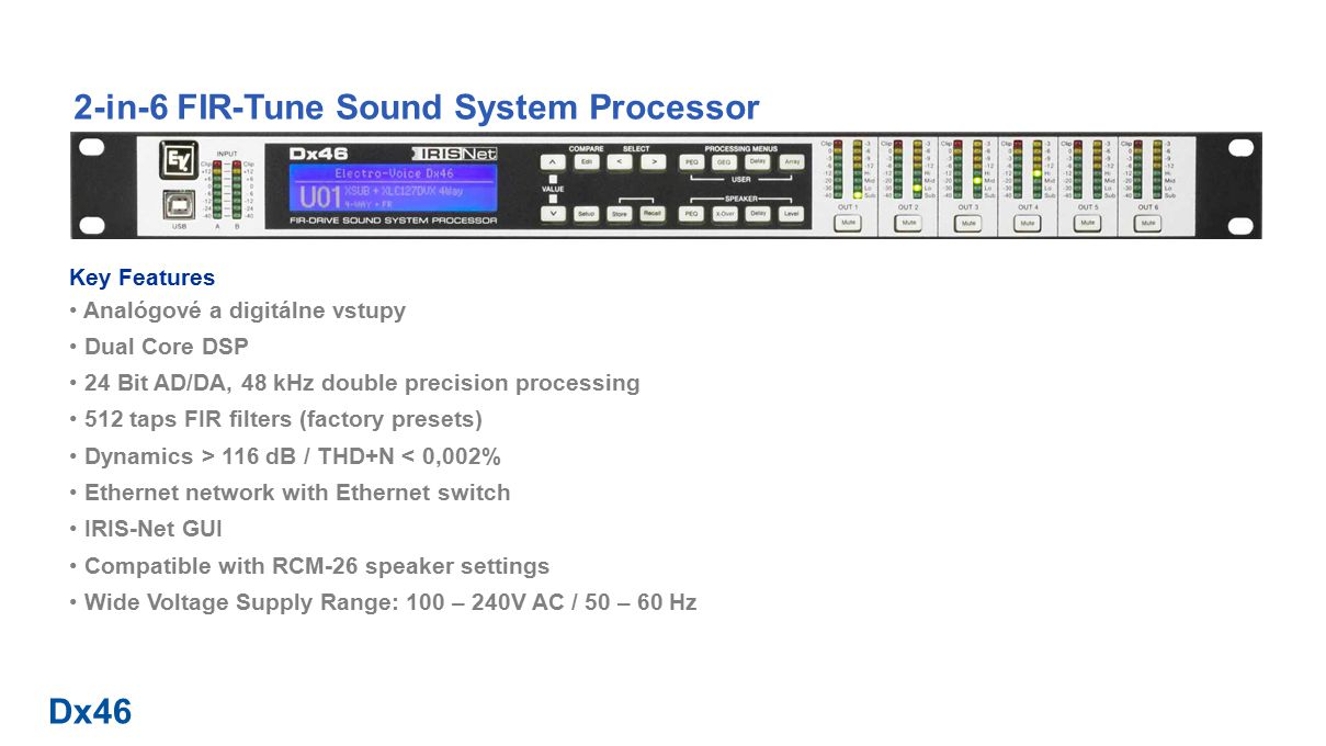 Dx46 2-in-6 FIR-Tune Sound System Processor Signal Flow Diagram