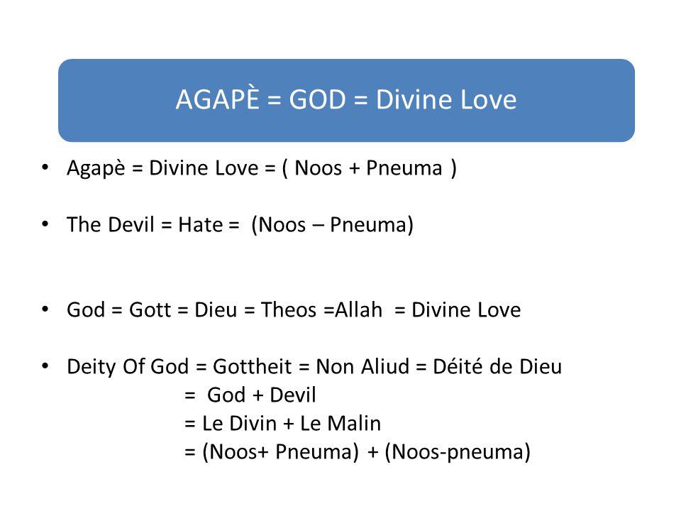 Agapè = Divine Love = ( Noos + Pneuma ) The Devil = Hate = (Noos – Pneuma) God = Gott = Dieu = Theos =Allah = Divine Love Deity Of God = Gottheit = Non Aliud = Déité de Dieu = God + Devil = Le Divin + Le Malin = (Noos+ Pneuma) + (Noos-pneuma) AGAPÈ = GOD = Divine Love
