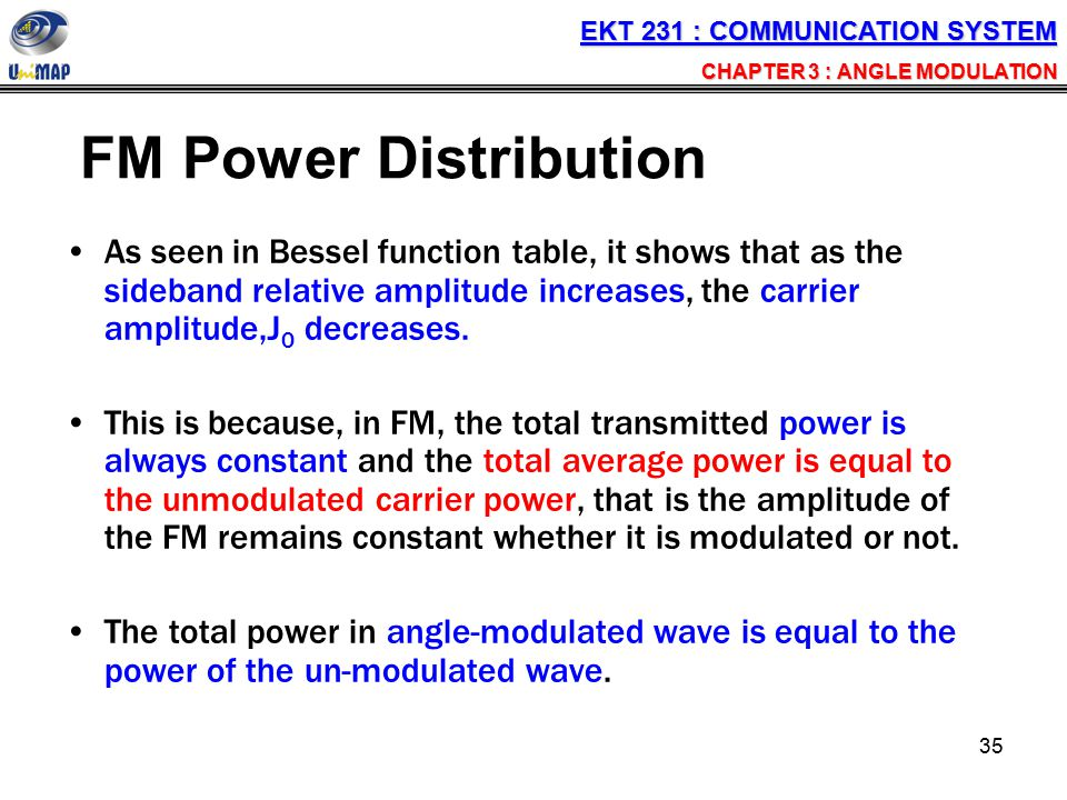 35 FM Power Distribution As seen in Bessel function table, it shows that as the sideband relative amplitude increases, the carrier amplitude,J 0 decre