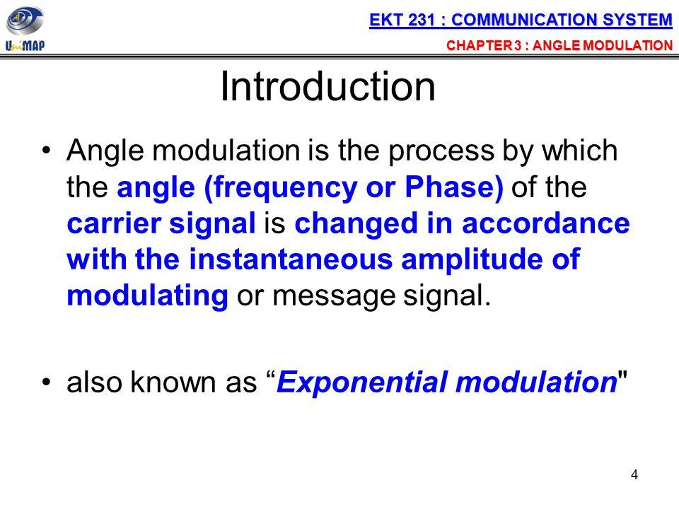 25 Solution (ii) Their amplitude J 0 =0.77(10); Carrier J 1 =0.44(10), ; 1 st sideband pairs J 2 =0.11(10); 2 nd sideband pairs J 3 =0.02(10); 3 rd side band pairs EKT 231 : COMMUNICATION SYSTEM CHAPTER 3 : ANGLE MODULATION