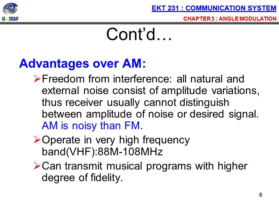 27 Angle Modulation Part 2 FM Bandwidth Power distribution of FM Generation & Detection of FM Application of FM EKT 231 : COMMUNICATION SYSTEM CHAPTER 3 : ANGLE MODULATION