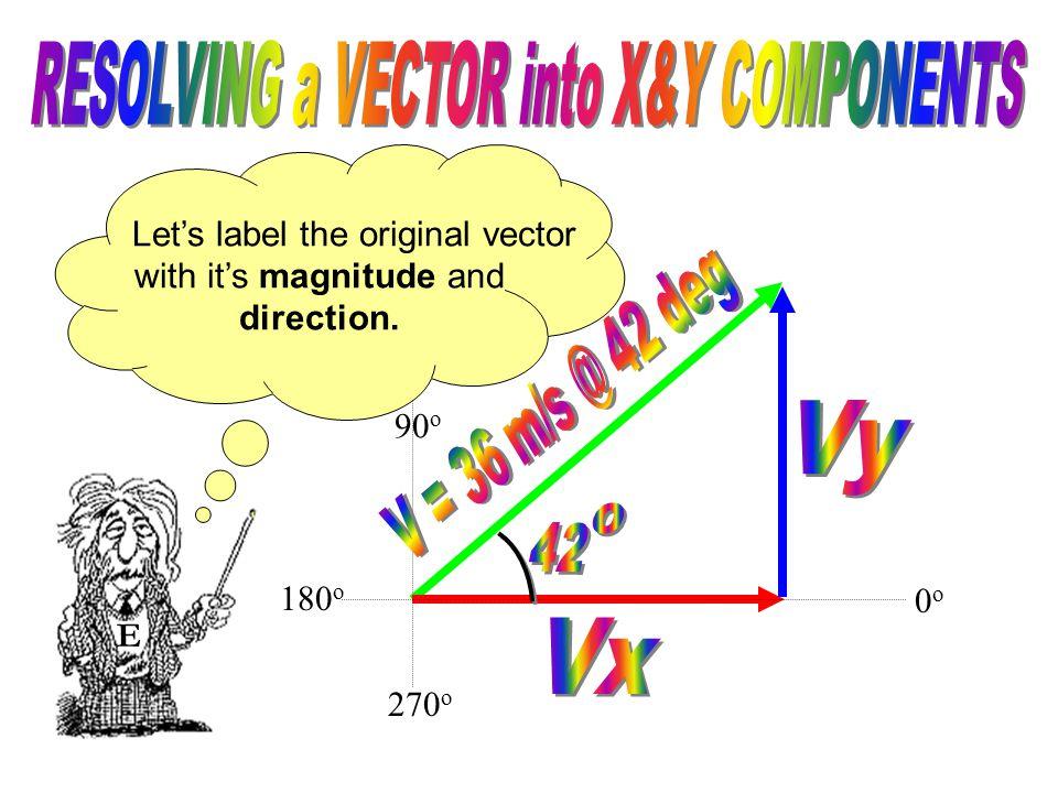 E Let's label the original vector with it's magnitude and direction. 0o0o 180 o 90 o 270 o