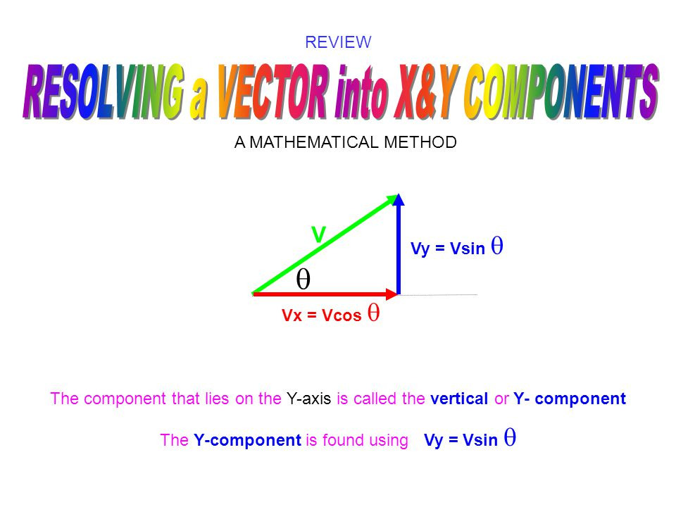 V  REVIEW A MATHEMATICAL METHOD The component that lies on the X-axis is called the horizontal or X - component The X-component is found using Vx = V