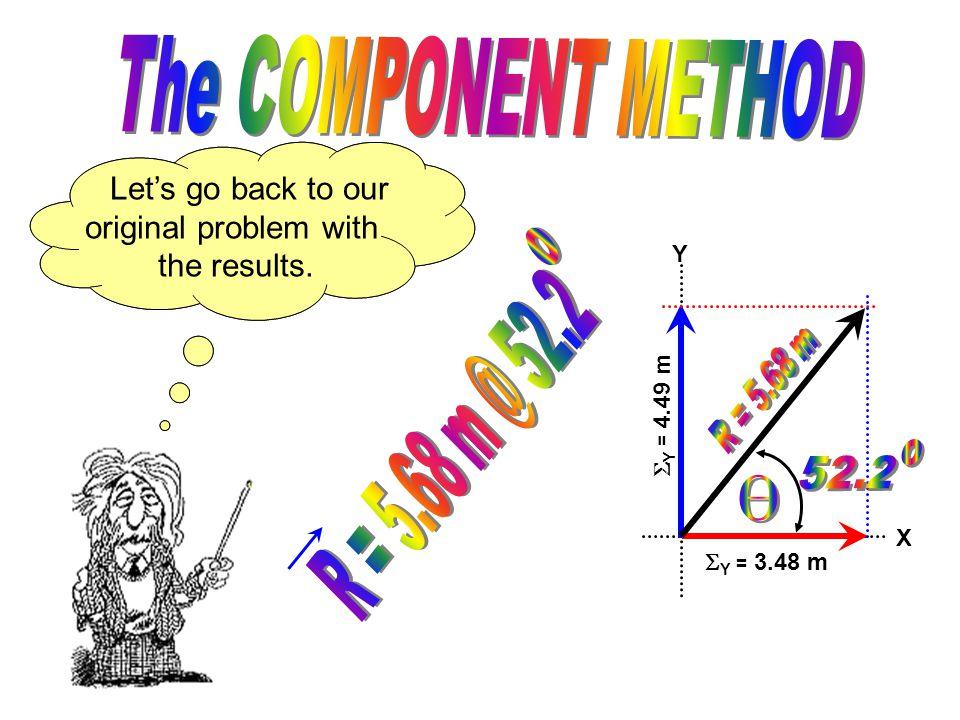Y X  Y = 4.49 m  Y = 3.48 m To find the angle we'll use tangent.