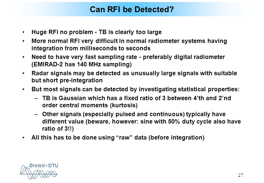 Ørsted DTU 27 Can RFI be Detected.