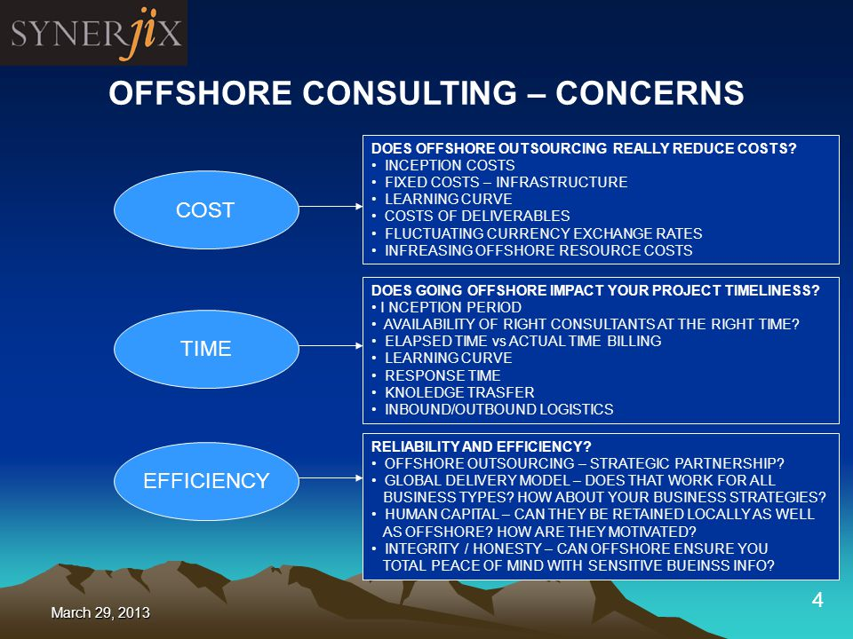4 OFFSHORE CONSULTING – CONCERNS COST TIME EFFICIENCY DOES OFFSHORE OUTSOURCING REALLY REDUCE COSTS.