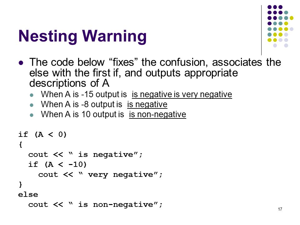 17 Nesting Warning The code below fixes the confusion, associates the else with the first if, and outputs appropriate descriptions of A When A is -15 output is is negative is very negative When A is -8 output is is negative When A is 10 output is is non-negative if (A < 0) { cout << is negative ; if (A < -10) cout << very negative ; } else cout << is non-negative ;
