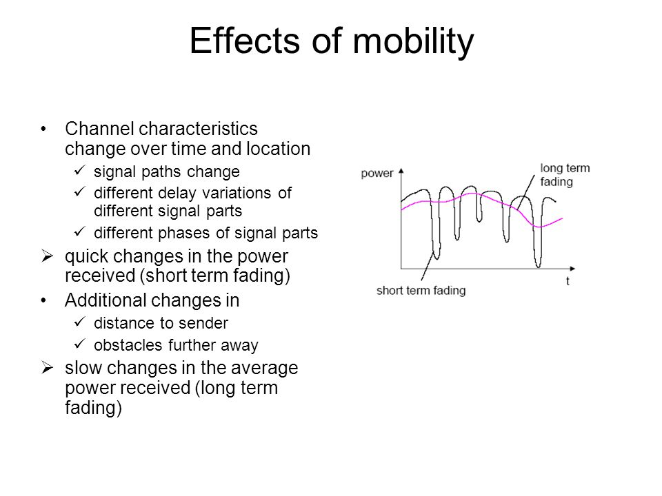 Effects of mobility Channel characteristics change over time and location signal paths change different delay variations of different signal parts dif