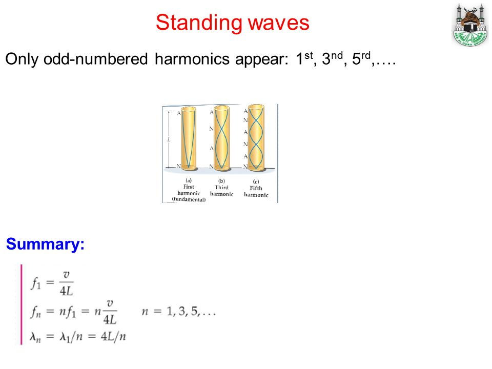 Standing waves Only odd-numbered harmonics appear: 1 st, 3 nd, 5 rd,…. Summary: