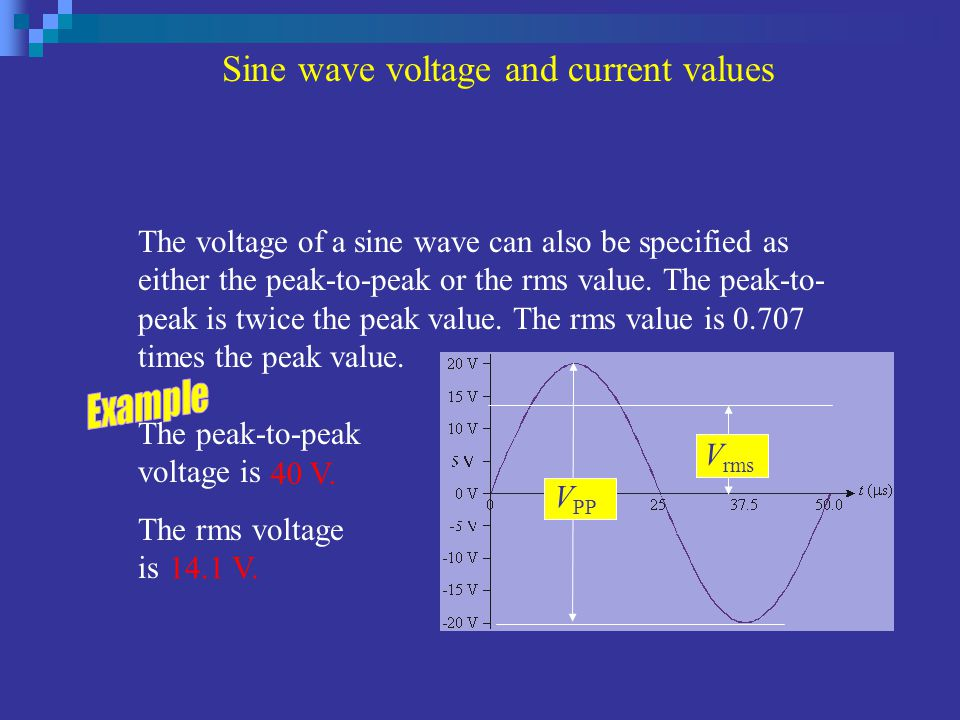The voltage of a sine wave can also be specified as either the peak-to-peak or the rms value. The peak-to- peak is twice the peak value. The rms value