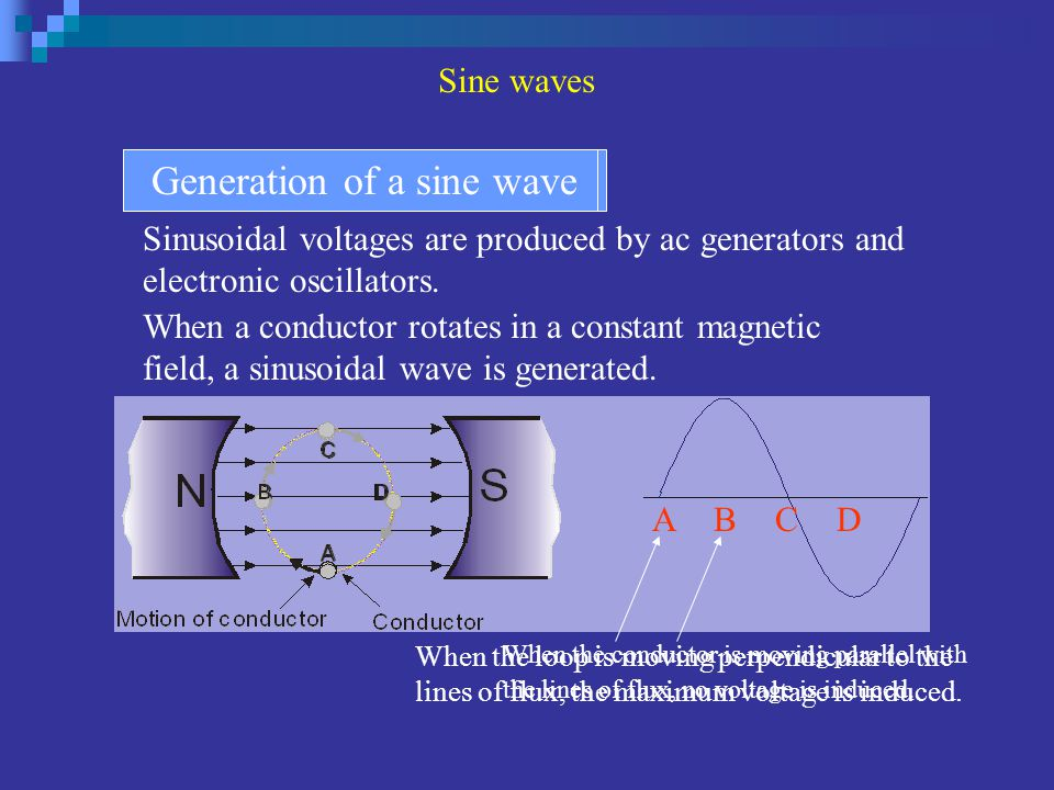 Sinusoidal voltages are produced by ac generators and electronic oscillators. Sinusoidal voltage sourcesGeneration of a sine wave A BC D When a conduc