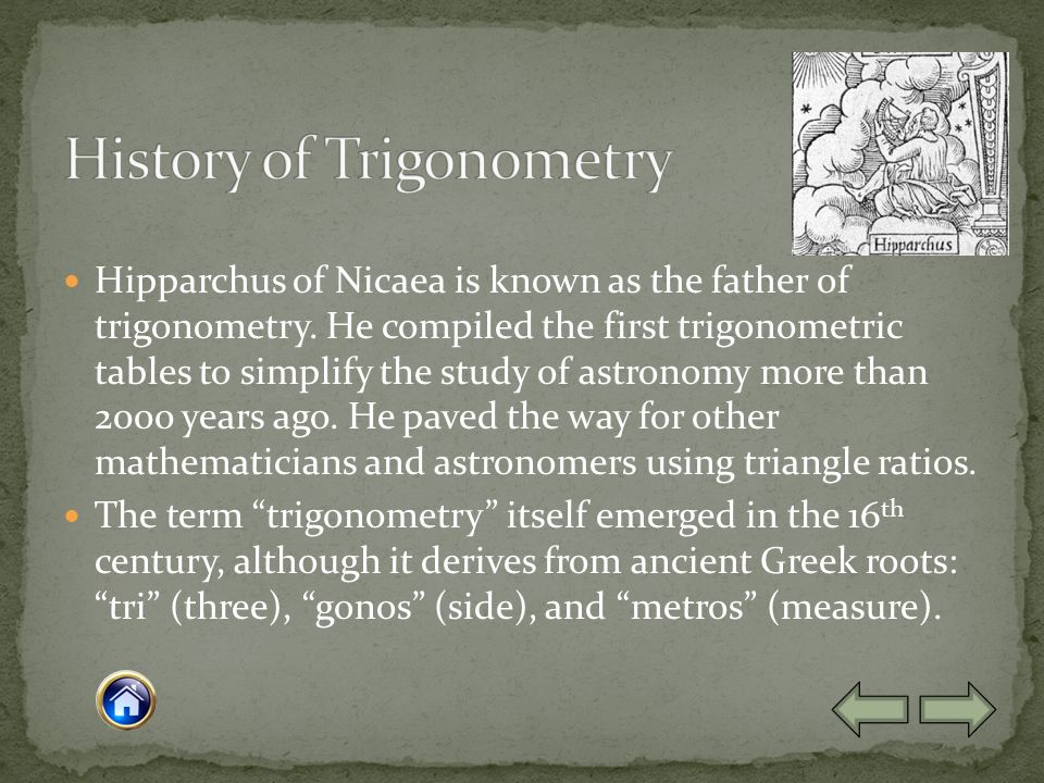 Hipparchus of Nicaea is known as the father of trigonometry.