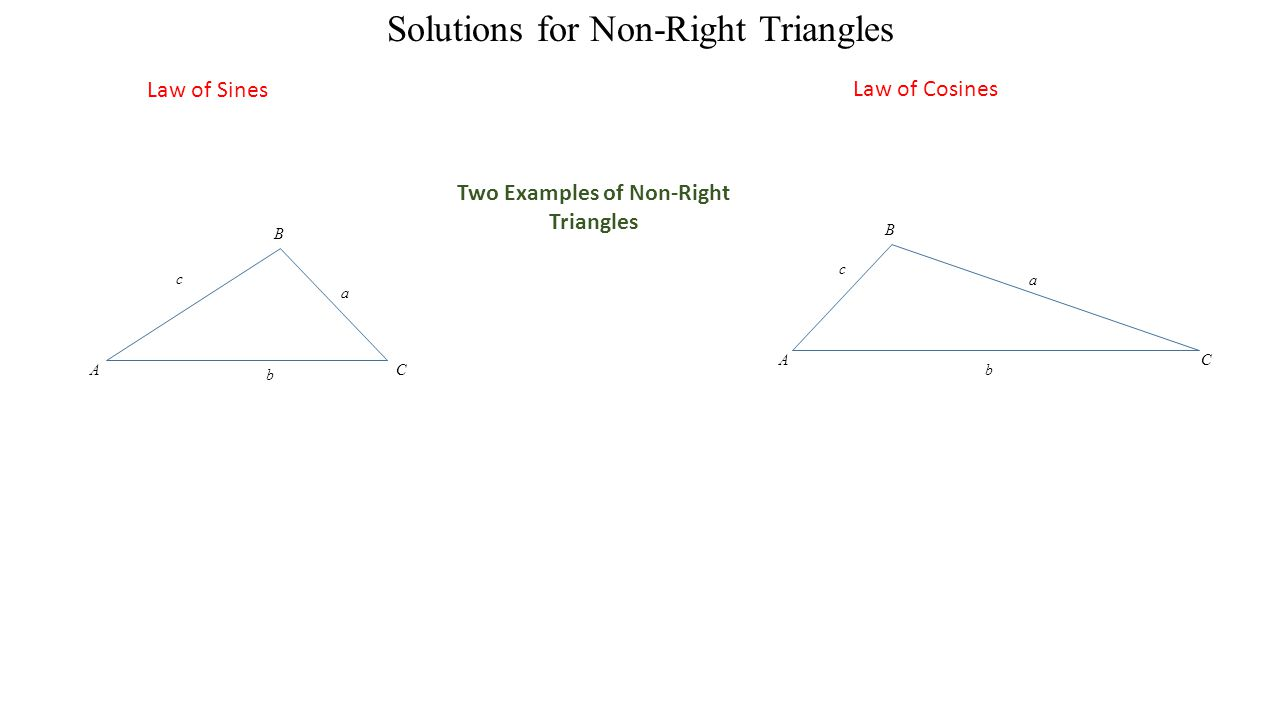 a A B C b c a A B C b c Solutions for Non-Right Triangles Law of Sines Law of Cosines Two Examples of Non-Right Triangles