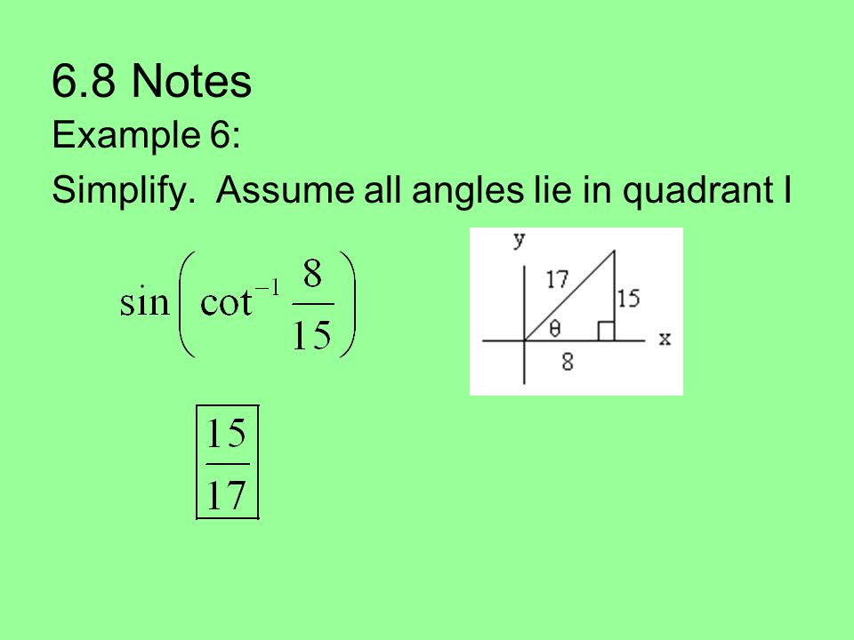 6.8 Notes Example 6: Simplify. Assume all angles lie in quadrant I