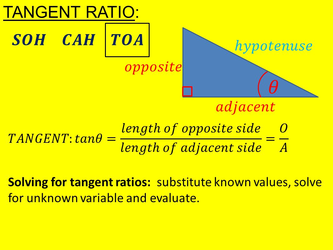 TANGENT RATIO: Solving for tangent ratios: substitute known values, solve for unknown variable and evaluate.