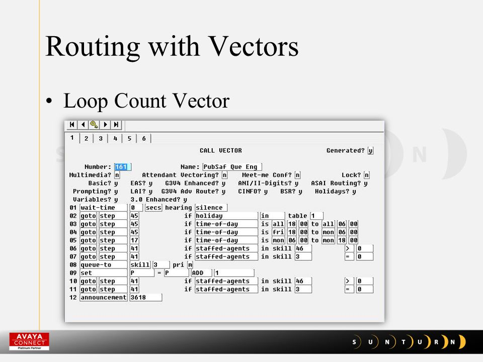 Routing with Vectors Loop Count Vector
