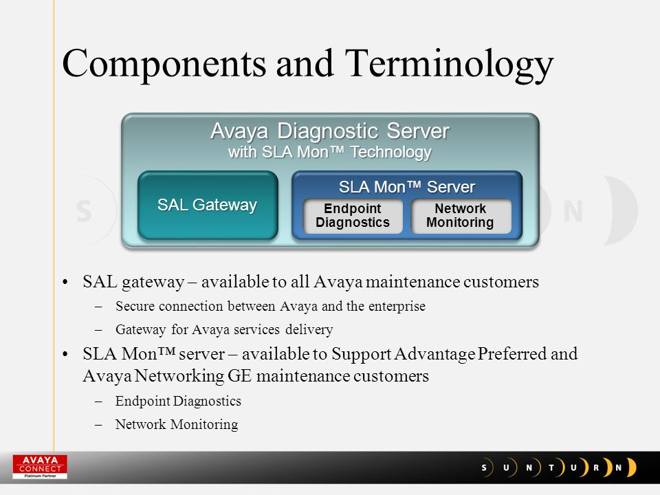 Components and Terminology SAL gateway – available to all Avaya maintenance customers –Secure connection between Avaya and the enterprise –Gateway for