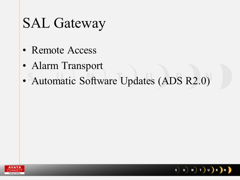SAL Gateway Remote Access Alarm Transport Automatic Software Updates (ADS R2.0)