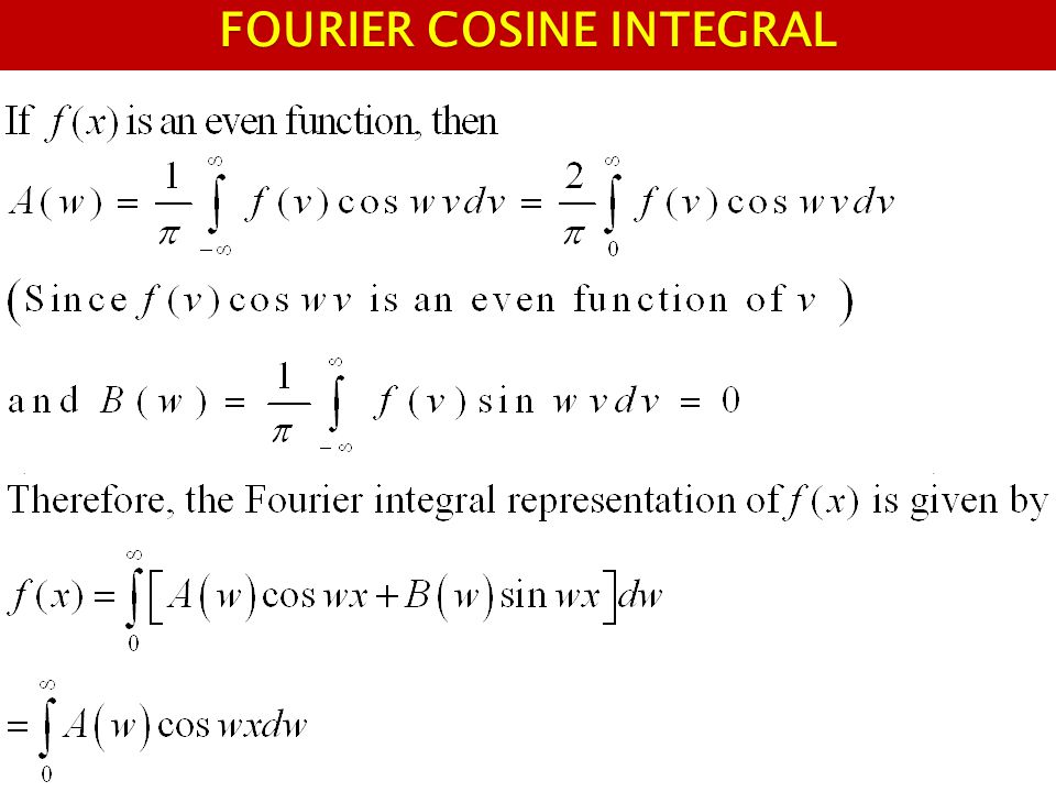 FOURIER COSINE INTEGRAL