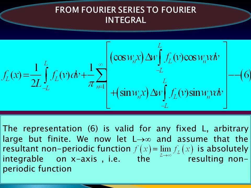 FROM FOURIER SERIES TO FOURIER INTEGRAL The representation (6) is valid for any fixed L, arbitrary large but finite. We now let L  and assume that t