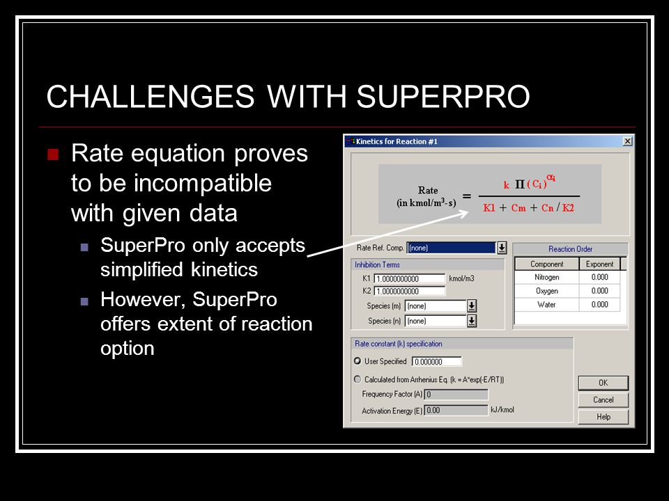 CHALLENGES WITH SUPERPRO Rate equation proves to be incompatible with given data SuperPro only accepts simplified kinetics However, SuperPro offers extent of reaction option