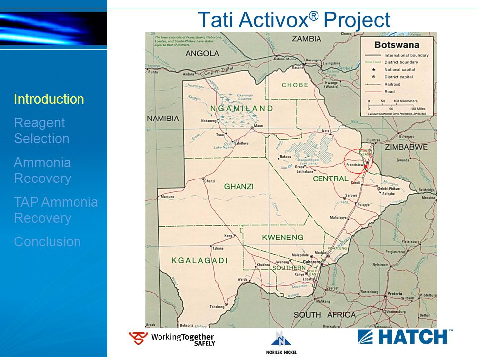 3 Tati Activox ® Project Introduction Reagent Selection Ammonia Recovery TAP Ammonia Recovery Conclusion