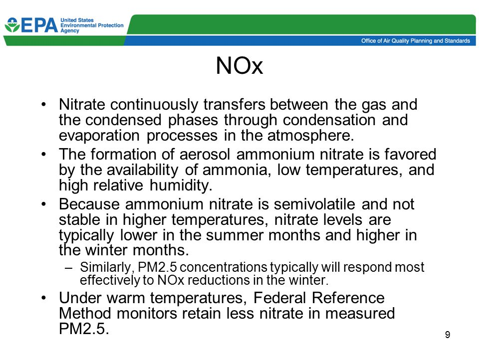 10 NOx (cont.) Ammonia reacts preferentially with SO2, but in the absence of significant amounts of SO2, nitric acid will readily form ammonium nitrate (such as in many western cities).