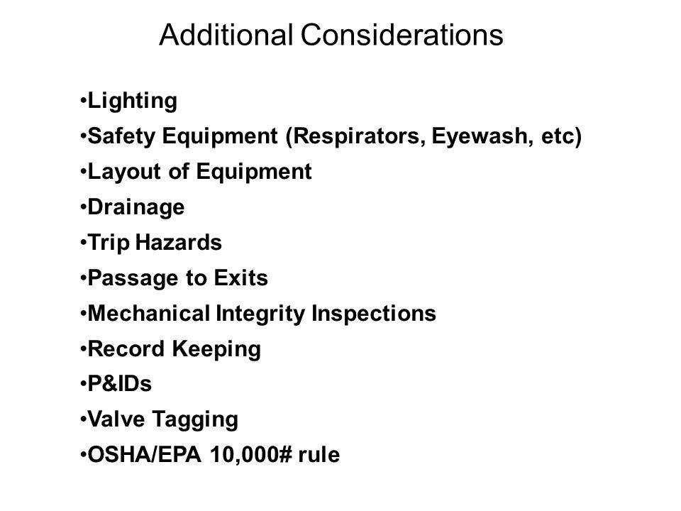 Additional Considerations Lighting Safety Equipment (Respirators, Eyewash, etc) Layout of Equipment Drainage Trip Hazards Passage to Exits Mechanical