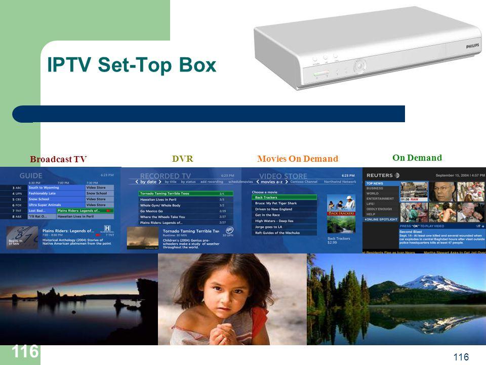 116 IPTV Set-Top Box Broadcast TV DVRMovies On Demand On Demand 116