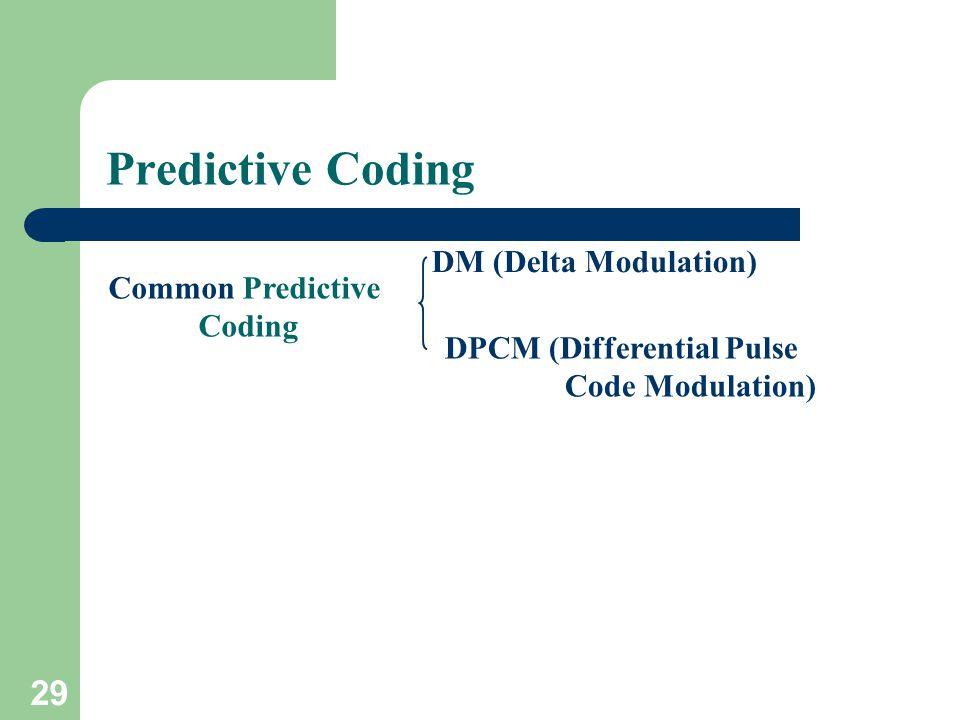 DM (Delta Modulation) DPCM (Differential Pulse Code Modulation) Predictive Coding Common Predictive Coding 29