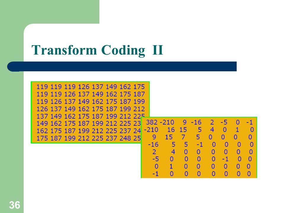 Transform Coding II 36