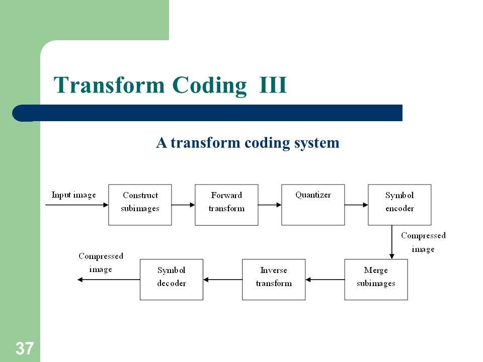 Transform Coding III A transform coding system 37